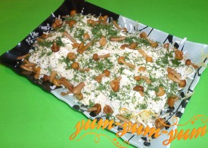 Как приготовить салат из копченой курицы с маринованными грибами