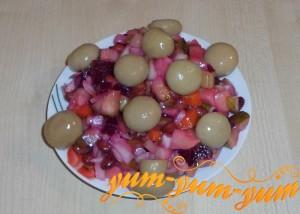 Как приготовить винегрет с фасолью и грибами