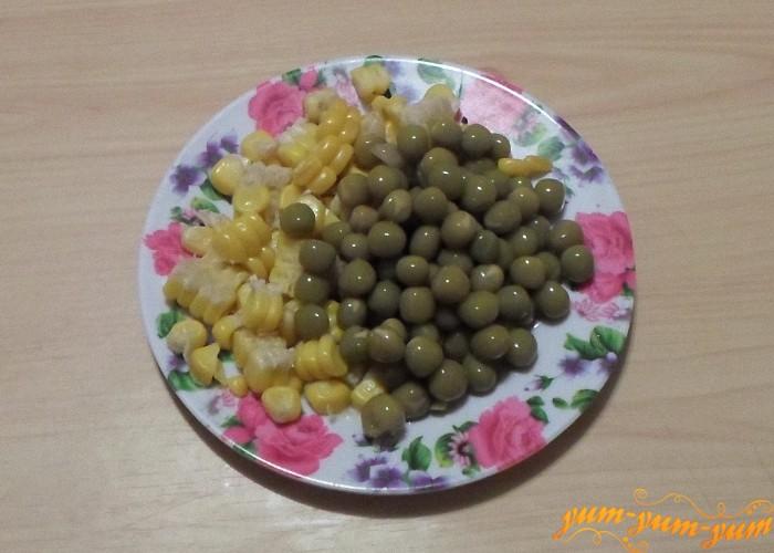 Консервированные горошек и кукуруза для салата