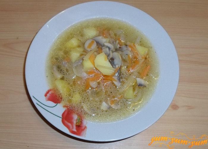 Готовый грибной суп с вермишелью подать к столу