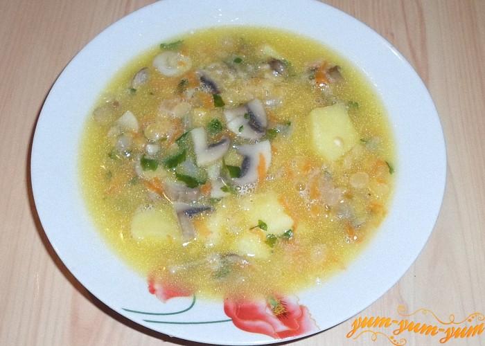 Готовый постный гороховый суп с грибами подать к столу
