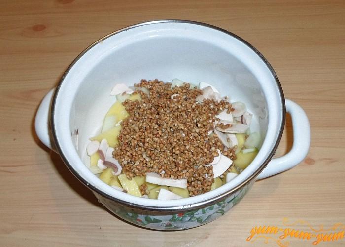 Положить грибы овощи и гречку в кастрюлю