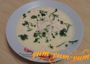 Приготовление сырного супа на курином бульоне