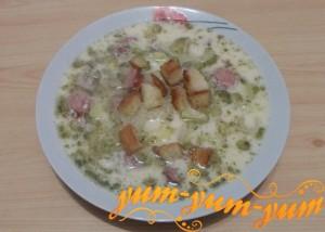 Как приготовить сырный суп с копченой колбасой