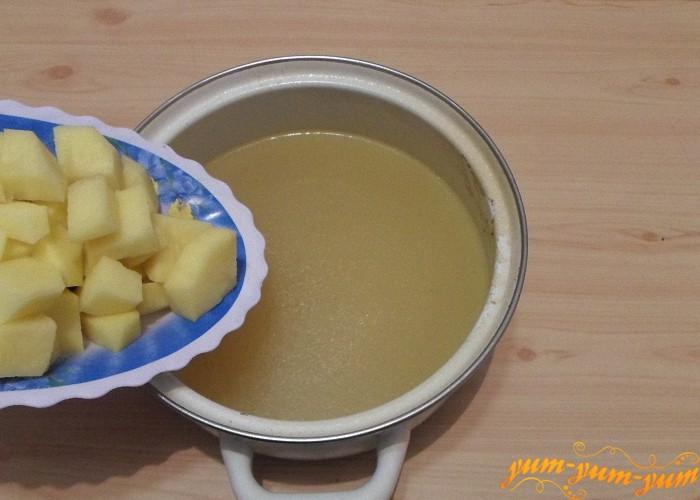 Картошку сварить в бульоне до готовности