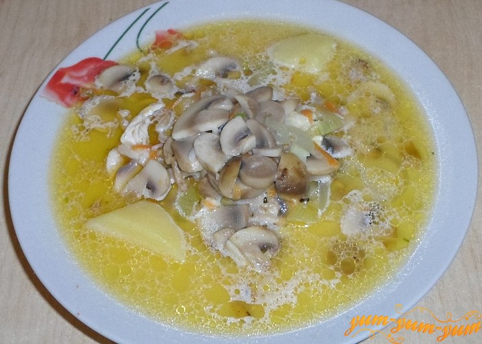 Куриный суп с сыром и рисом сразу подать к столу