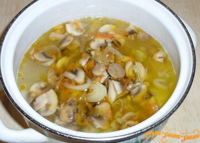 Обжаренные овощи и грибы добавить в суп