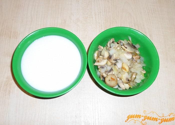 Обжаренные овощи взбить с молоком и зеленью