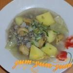 Грибной и куриный суп с маринованными грибами