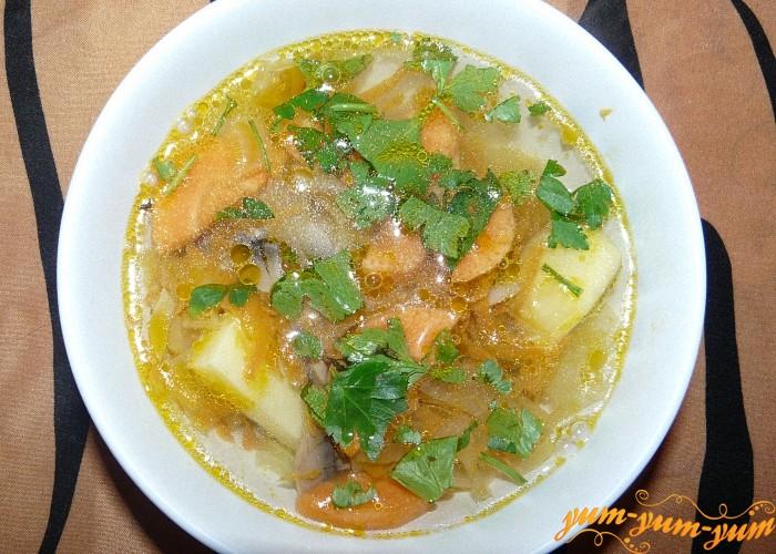 Суп из мороженых белых грибов подаем к столу