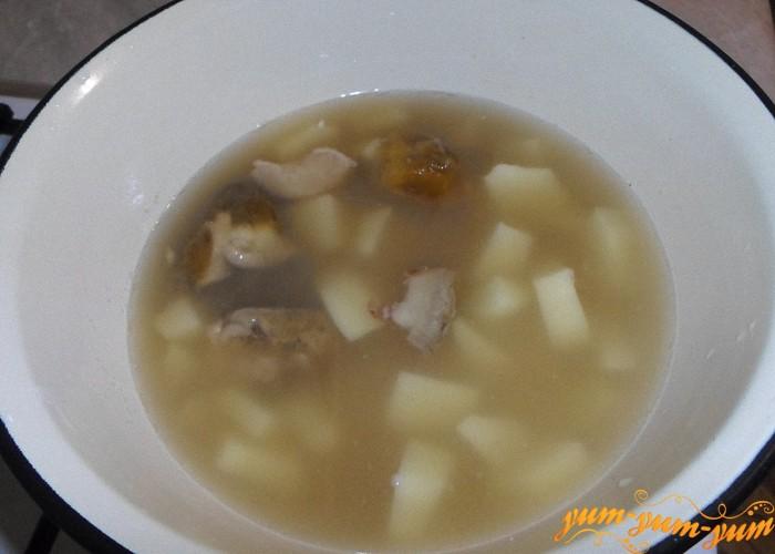 Картофель нарезать кубиками и варить вместе с крупой