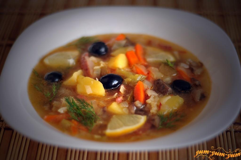 Солянку с грибами пошаговый рецепт с
