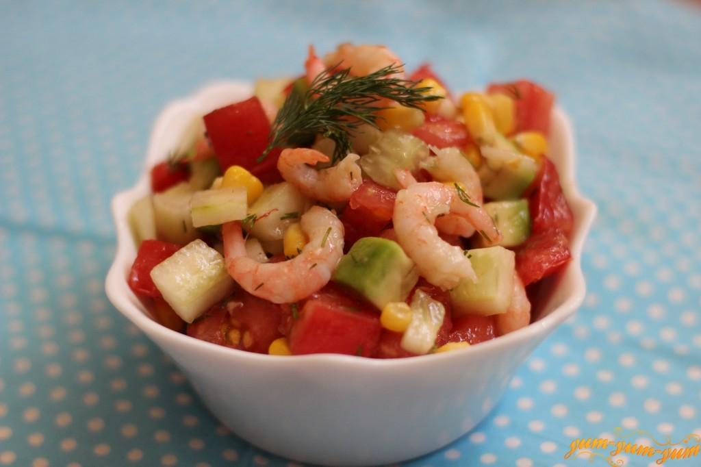Салат из кабачка авокадо креветок